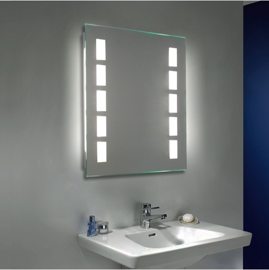 simple-wall-mounted-bathroom-mirror with lighting